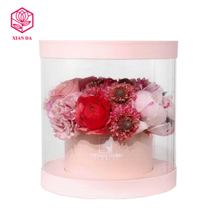 hot sale clear round pvc flower box with custom metal logo