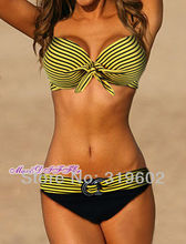 Free shipping  Sexy hot New yellow stripe padded Underwire ladies BIKINI swimsuit SWIMWEAR size M L XL shipping within 24hs