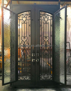 Perfect design wrought iron double entry door with screens and handles and thermos break