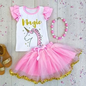 0b653d0ad3 Verano recién nacido bebé niña unicornio conjuntos de ropa mameluco + falda  + 2 unids trajes