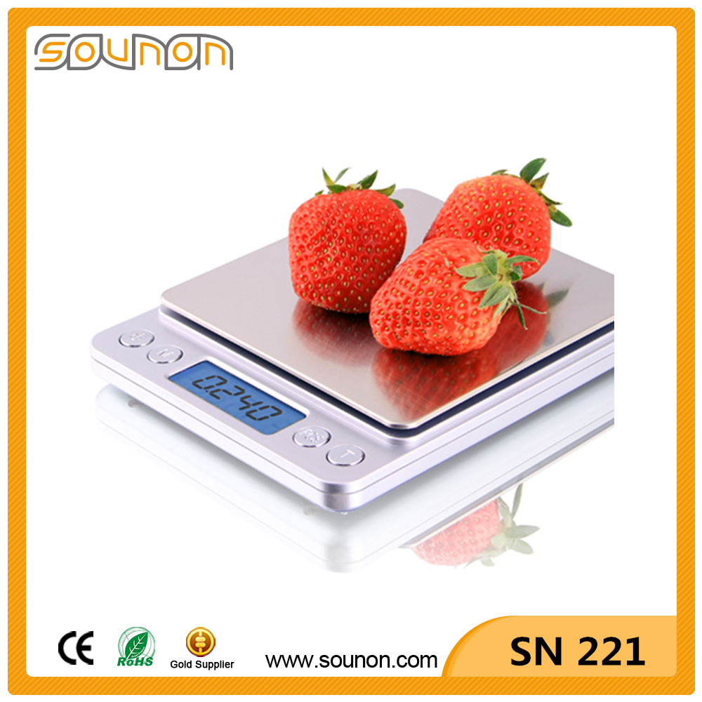 0.01g Max 2000g High Precision Big Weighing Stainless Steel Digital Pocket Scale SN221