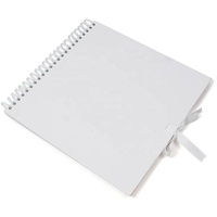 8x8 White Spiral Wedding Scrapbook Photo Album with Ribbon Enclosure
