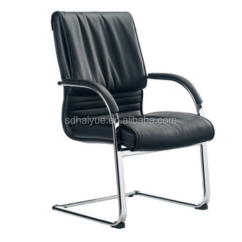 Mid Back Pu Leather Office Wheeless Chairs Meeting