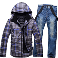 Free shipping Ski clothes jacket pants outdoor ski suit male thickening wear super warm waterproof windproof