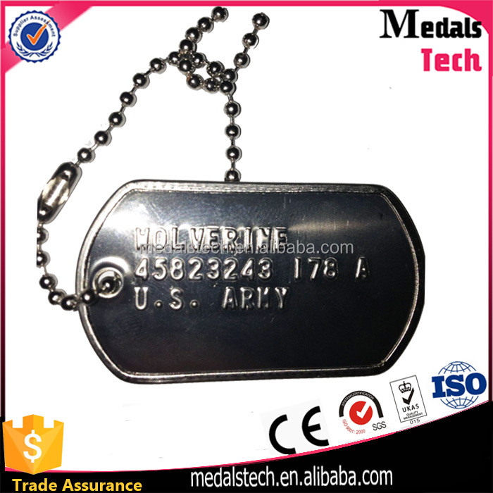 Wholesale custom black nickle metal personalized engraved dog tag military