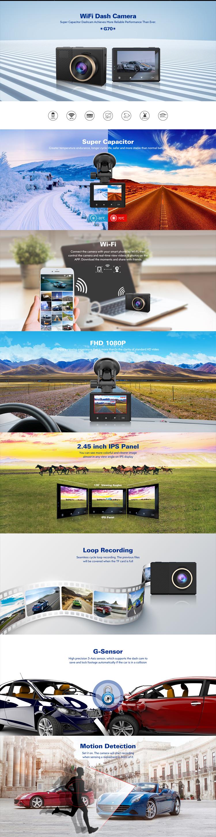 Dash cam G-sensor Good night vision  WIFI Super capacitor