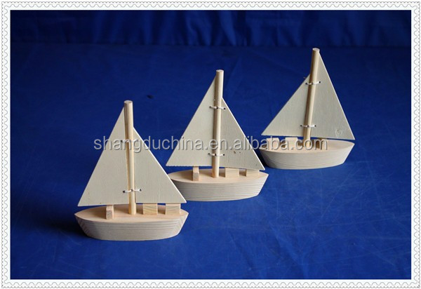 naturel handmade decoration miniature wooden toy boat for kids