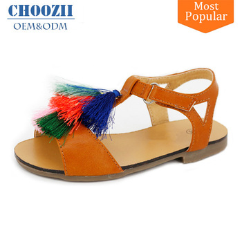 2017 Summer Online New Designs Flat Party Wear Girls Sandals With