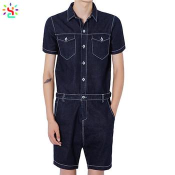 3656fe901ab8 Custom made mens romper denim jumpsuit men playsuit short sleeve overalls  one piece work clothes