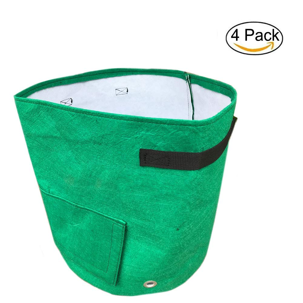 FANSONG 4-Pack 10 Gallon Garden Grow Bags/Planter Bag Round Heavy Duty & Durable Bags with Flap and Handles for Garden Plant Outdoor, Green