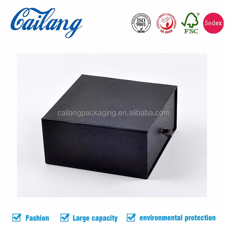 China supplier high end cardboard drawer box good quality printed sliding pulling box paper box with ribbon handle