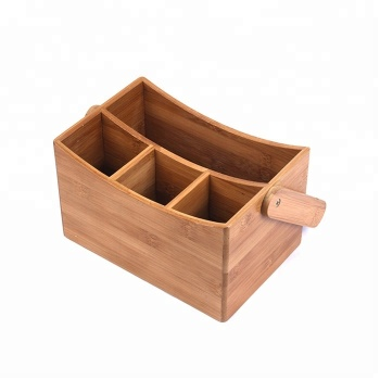Natural bamboo 4 compartment utensil holder or cutlery caddy with swinging handle