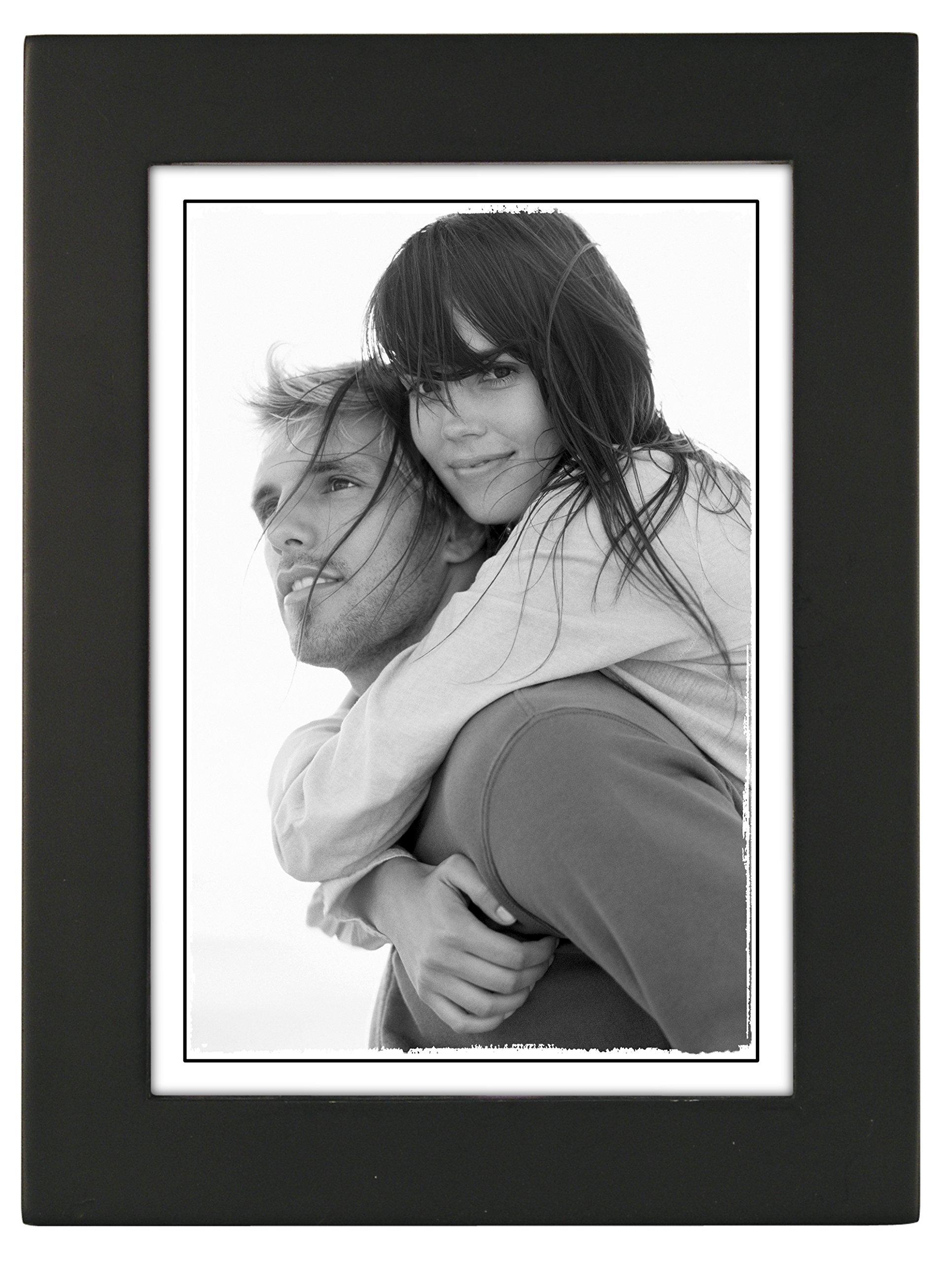 Malden International Designs Linear Classic Wood Picture Frame, 5x7, Black
