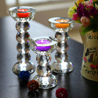 Fctory wholesale 3 wick glass candle holder crystal ball shape candle holder