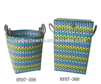 Wholesale Handmade Plastic Strap Woven Braiding Laundry Basket For Storage