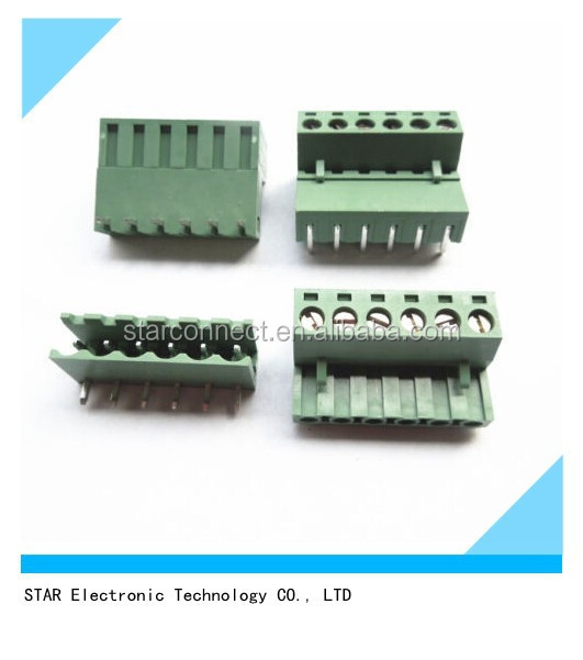 Top selling 6 Pin 9 Pin 5.08mm Pitch Electrical PCB Plug-in Screw Terminal Block Connector Right Angle with Green Color