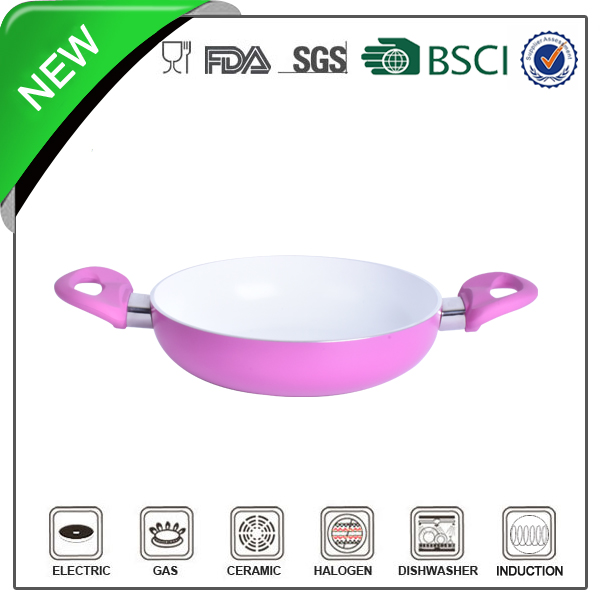 non stick double ceramic coating soft handle fry pan sizzle plate