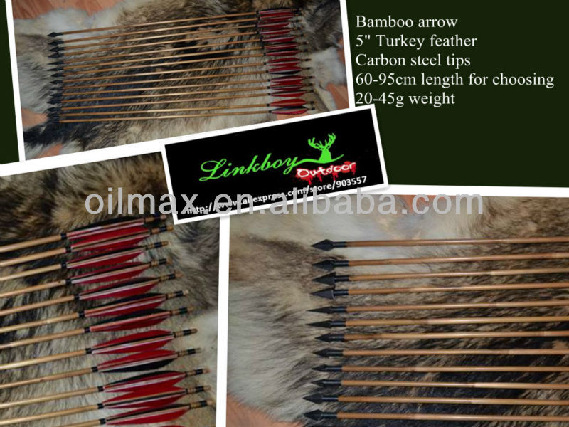 archery bow bamboo arrow completed with nock tip turkey feather hunting shooting equipement