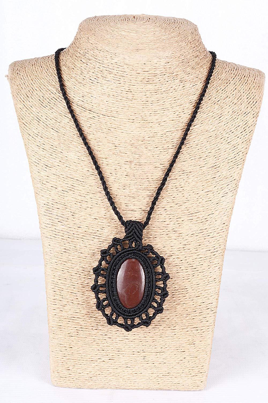 Handmade Macrame Necklace Chick. Pendant Jewelry Jasper Cord Bohemian