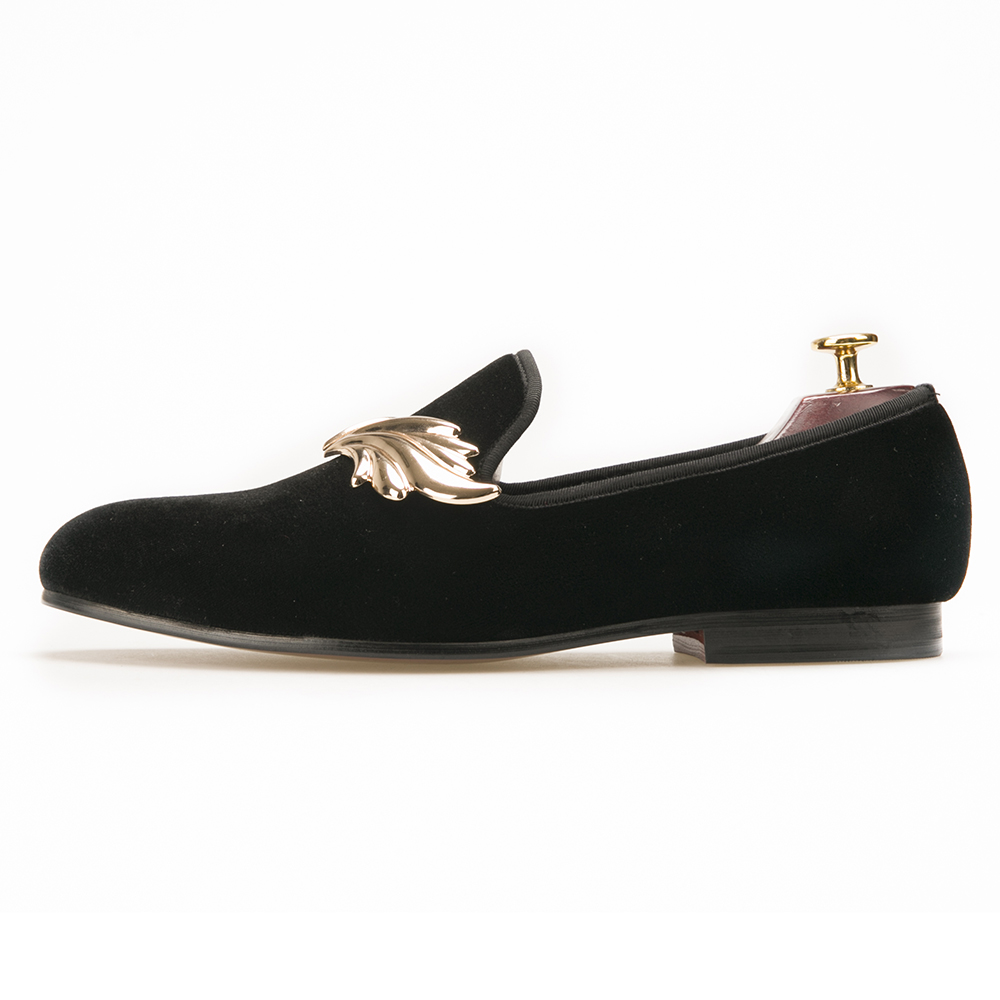 with men Metal Leaves Shoes Lazy Loafers Black for Velvet qXPYvY