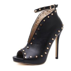 3900275d817 Cheelon Shoe Peep Toe Clear Block Heel Black Suede Ankle Boots Women ...
