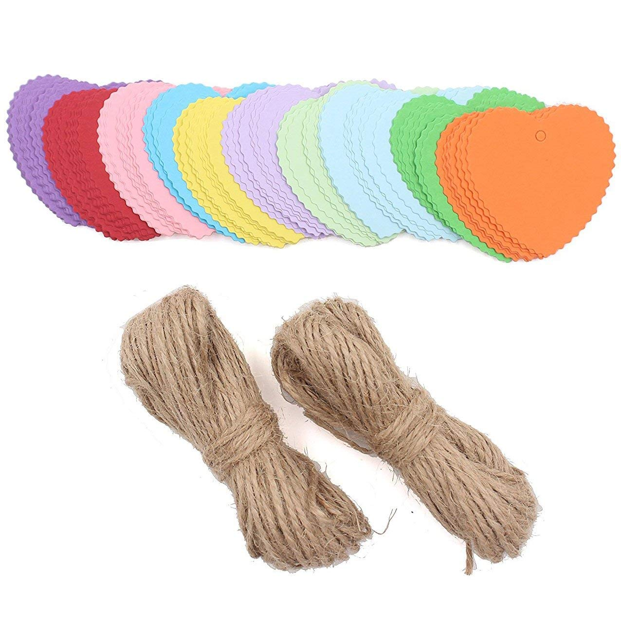 Zicome 150 Piece Colorful Paper Gift Tags with 50 Feet Natural Jute Twine, Heart Shaped, 10 Bright Colors