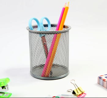 Office Stationery Round Mesh Metal Pen Holder Pencil Cup