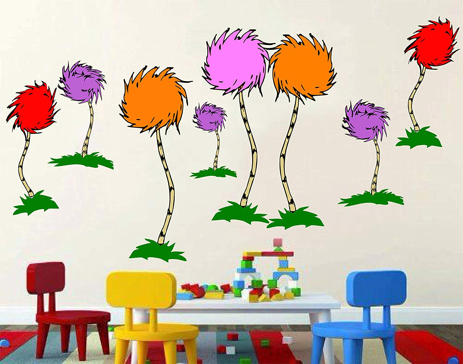 "Dr. Seuss The Lorax, truffula tree, 3D Window View Decal Graphic WALL STICKER Art Mural 18"", 24"", 36"" or 52"""