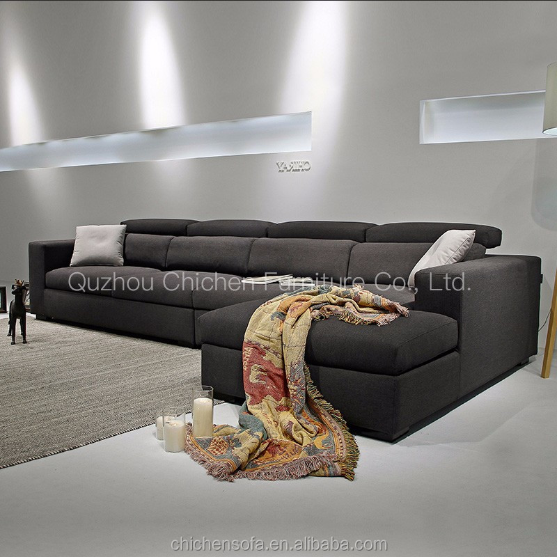 2017 new design extra large fabric and leather combination sofa made in foshan