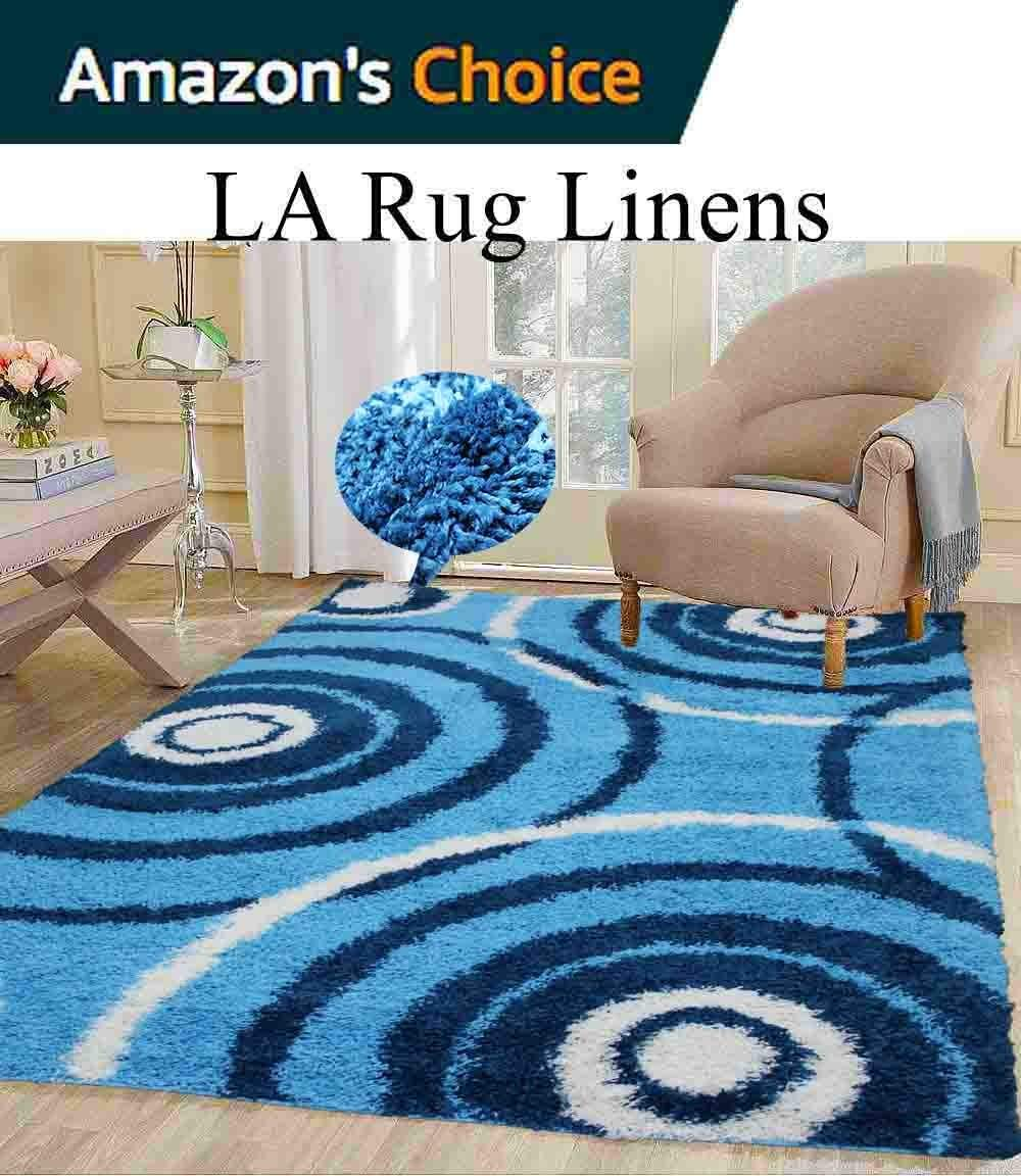 8-Feet-by-10-Feet Pile Rug Fluffy Fuzzy Modern Home Store Solid Kitchen Outdoor Indoor Bedroom Living Room Throw Carpet Floor Shag Rug Light Blue Dark Blue Turquoise White ( Popular 504 Turquoise )