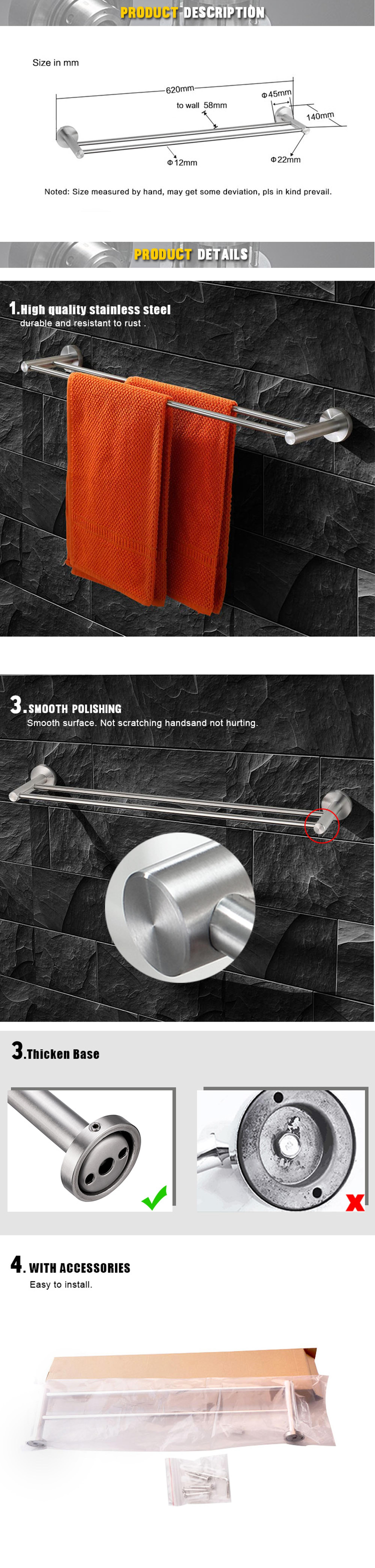 Modern bathroom decorative bronze stainless steel bath double hand towel bar