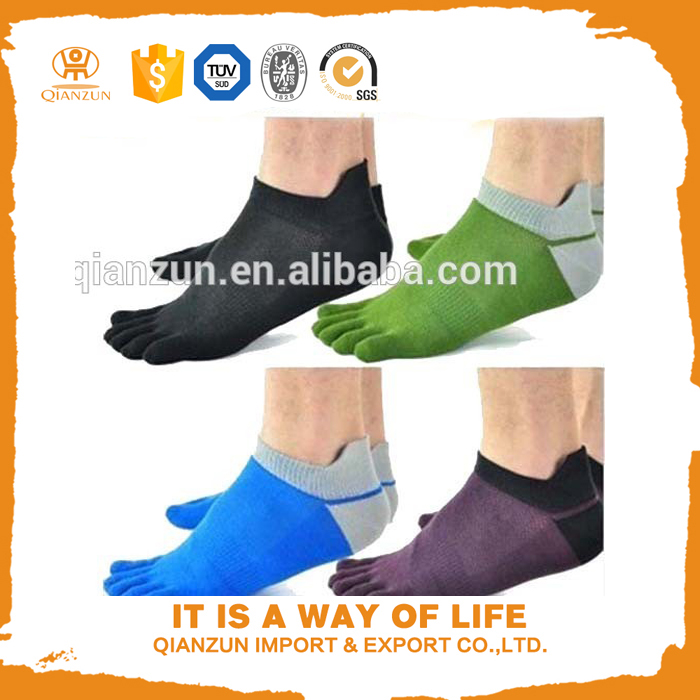 Hot Sale 5 pairs new young men's tube socks pure cotton sport baseball five finger socks toe socks bulk