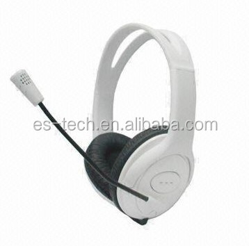 white headphone with mic tube,40mm headphone speaker high quality