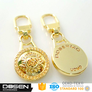 Custom designer high quality gold tone metal zipper pull dolls accessories. horse dog racing luggage parts