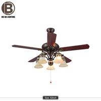 52 Inch Flush Mount Beida Ceiling Fan with Light Kit Red copper+Remote Control