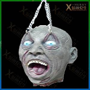 2015 - X-MERRY SCARY HAUNTED HOUSE WITH BLODDY REAL LATEX HEAD EYEBOW HAVE BEEN HANGED TORTURE PROPS BLOODTHIRSTY