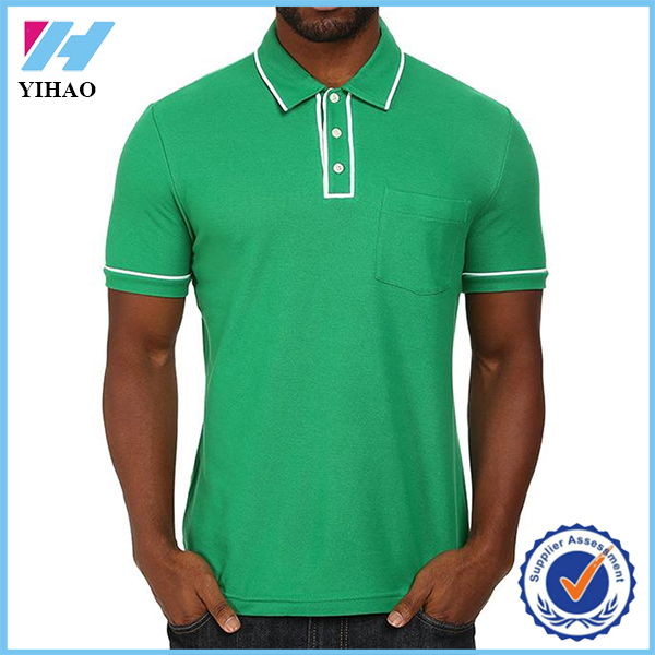 Yihao 2015 high quality summer men 100% cotton blank polo shirt custom golf shirt with pocket