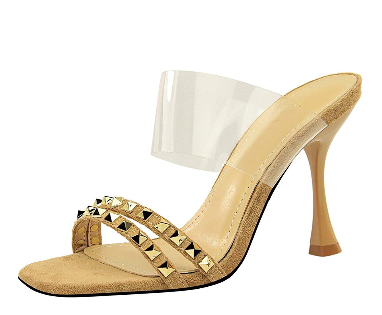 Miyoopark Women's Transparent Rivet Studded Slip-on Flared High Heel Wedding Dress Sandals