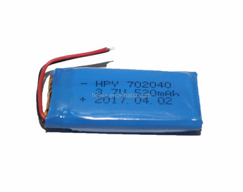 China supplier 702040 520mAh 3.7V rechargeable lithium polymer battery smallest for digital