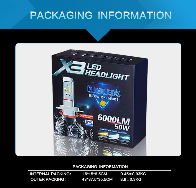 X3 Fanless Headlamp H4 H7 Auto Car Bulbs LED Headlight Kit