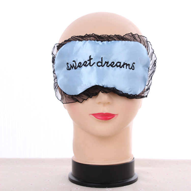 Sweet dream embroidery soft comfortable Satin Eye Cover Sleeping Mask with lace