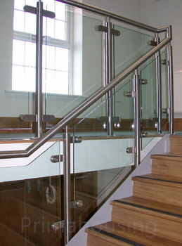 Delightful Stainless Steel Staircase Railing System/Laminated Glass Balustrade