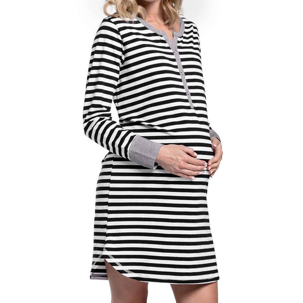 805097ccc4d4a Get Quotations · SMALLE ◕‿◕ Clearance,Women's Long Sleeve Button Nursing  Nightie Stripes Maternity Breastfeeding Dress