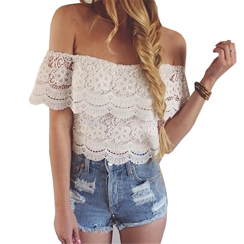 267ac8cdf5f63 ROPALIA Women Summer Off Shoulder Lace Floral Bustier Crop Tops Corset Cami  Tops