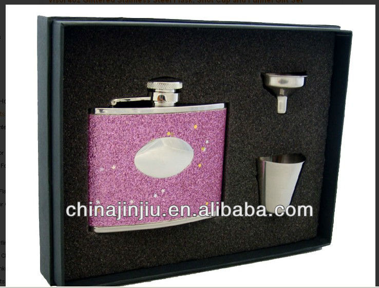 Pink Hip flask gift set stainless steel flask funnel and cup in gift box