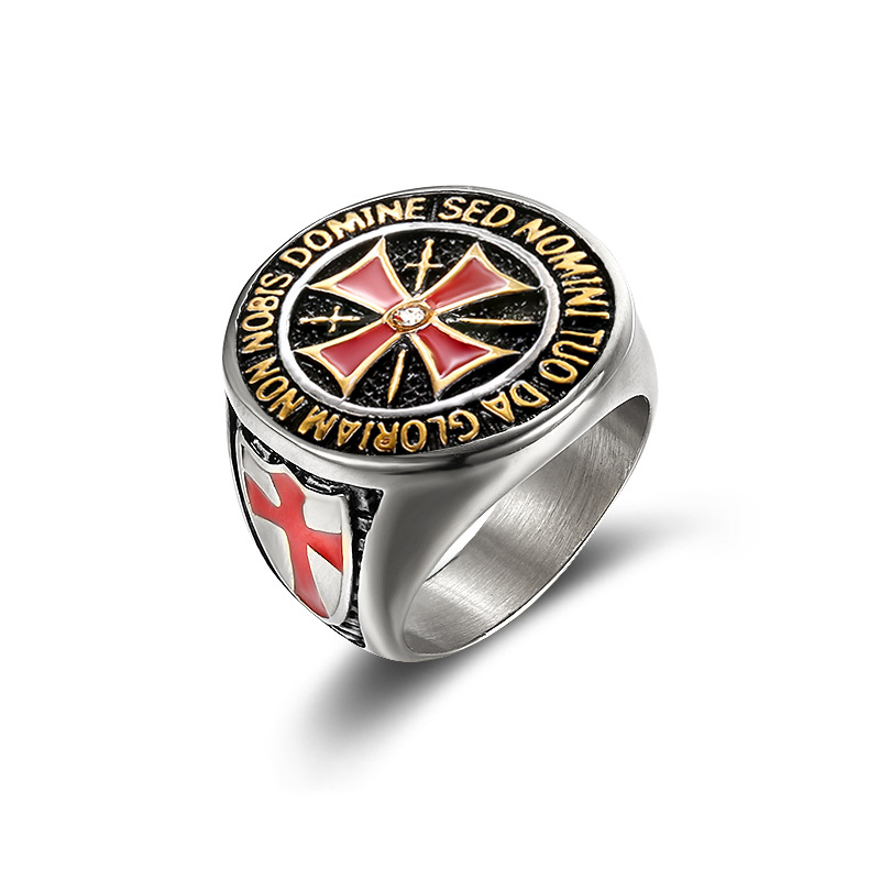 Foreign trade wholesale, the knights templar cross ring, euramerican style red glue titanium steel ring YSS764