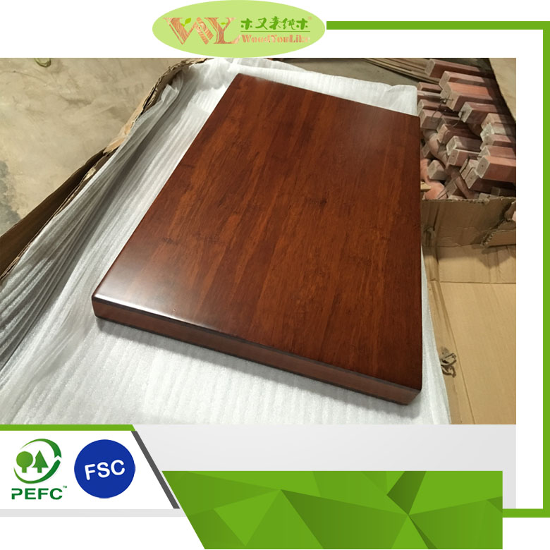 High Quality coffee stained strand woven bamboo top Solid Wood Worktop Bamboo Countertop