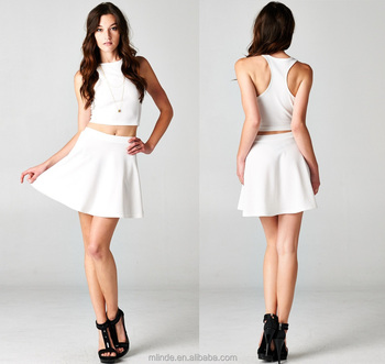 Women White Black Racer Back Crop Top And Flared Skirt Set - Buy ... f0a9ddb2b