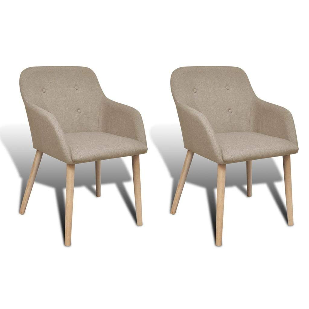 Strange Buy Beige Fabric Dining Chair Set Of 2 With Armrest Oak Beatyapartments Chair Design Images Beatyapartmentscom