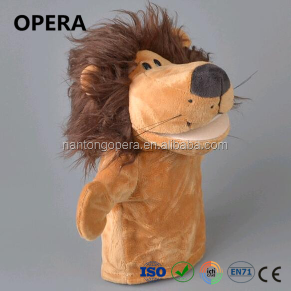 very soft material animal brown lion plush hand puppet